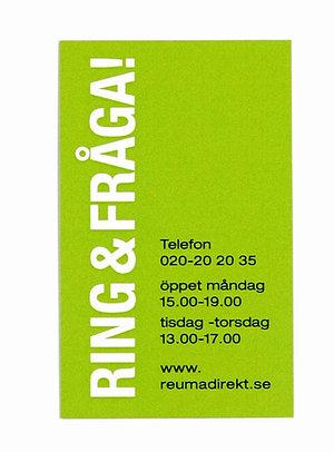 Informationskort Reuma Direkt visitkort - Gratis